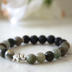 Made in Nevada Jade Gemstone Elephant Bracelet Aromatherapy Diffuser Jewelry