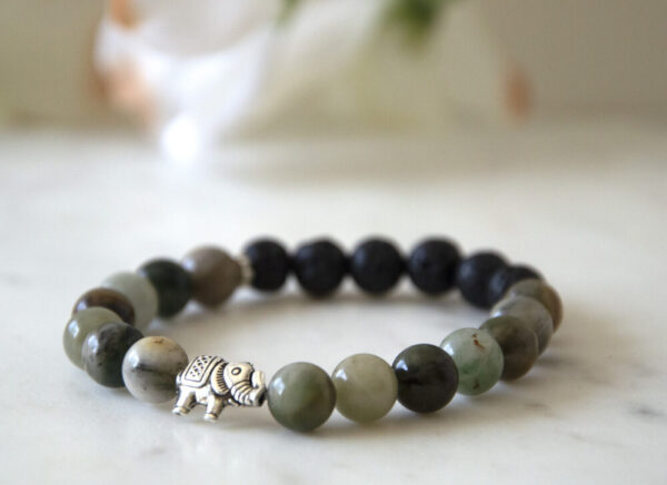 Made in Nevada Jade Gemstone Elephant Bracelet Aromatherapy Diffuser Jewelry