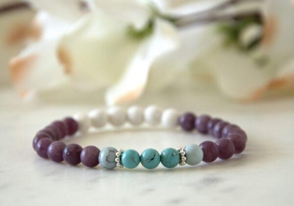 Made in Nevada Turquoise Lepidolite Gemstone Bracelet Aromatherapy Diffuser Jewelry