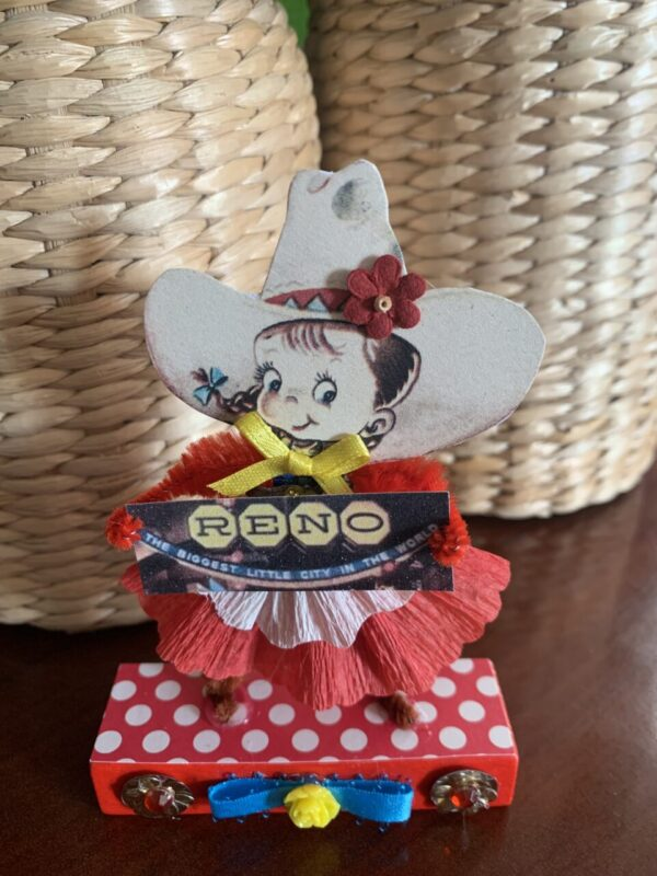 Made in Nevada Ruby from Reno – Vintage Inspired Chenille Paper Doll