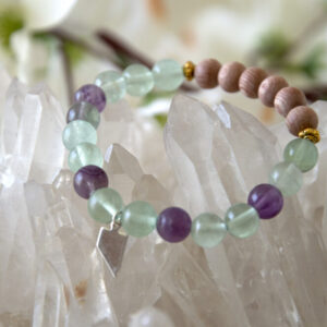 Made in Nevada Nevada Gemstone Bracelet Fluorite Rosewood Beads Aromatherapy Diffuser Jewelry