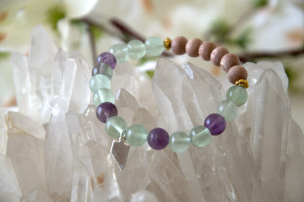 Made in Nevada Nevada Gemstone Bracelet Fluorite Rosewood Beads Aromatherapy Diffuser Jewelry