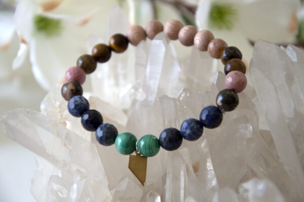 Made in Nevada Nevada State Charm Bracelet Malachite Lapis Lazuli Gemstones