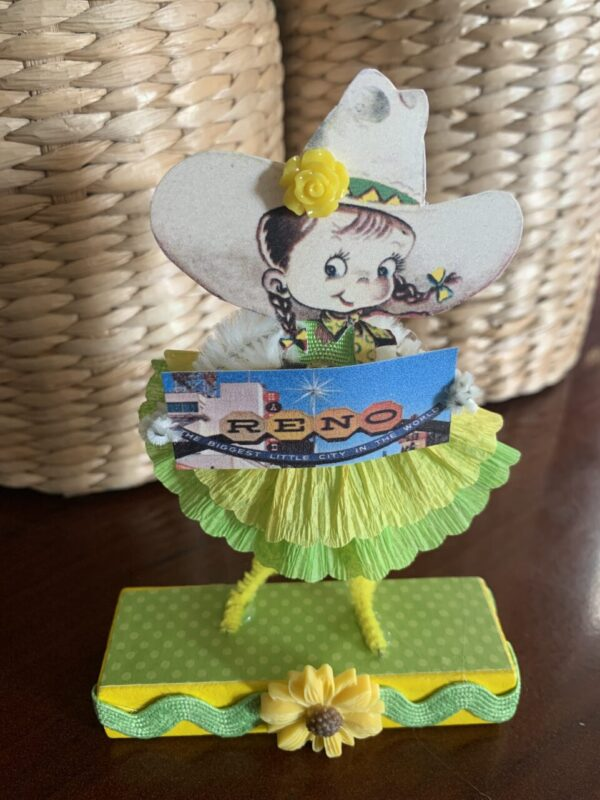 Made in Nevada Cowgirl Sierra – Vintage Inspired Chenille Paper Doll