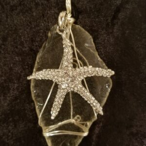 Made in Nevada Large beach glass pendant, clear, rhinestone starfish charm