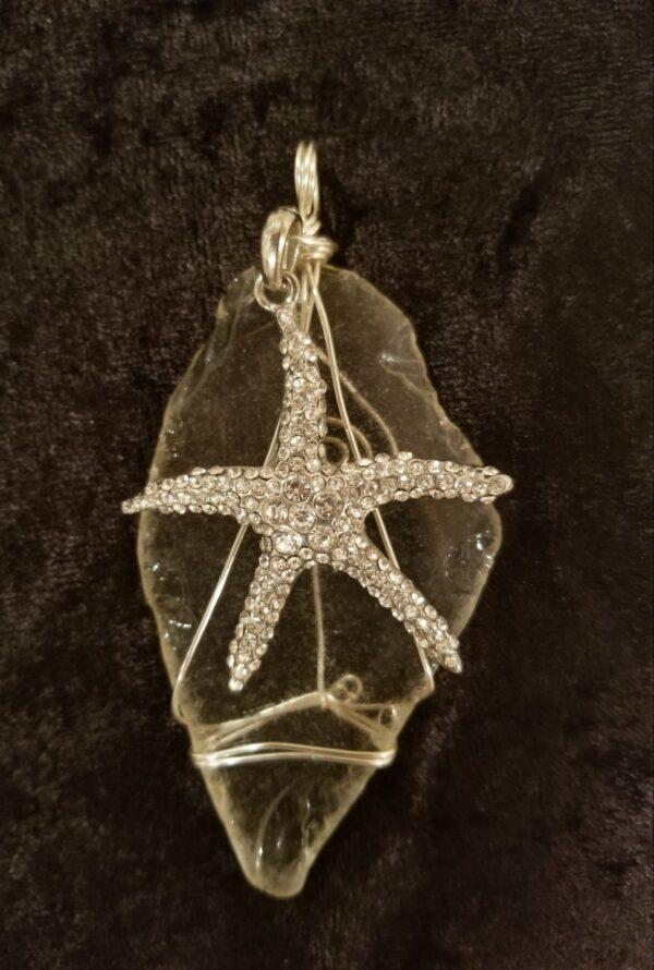 Made in Nevada Large beach glass pendant, clear, rhinestone starfish charm