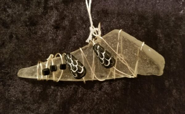 Made in Nevada Large beach glass pendant, opaque, 3 square black beads, 2 larger black/silver beads
