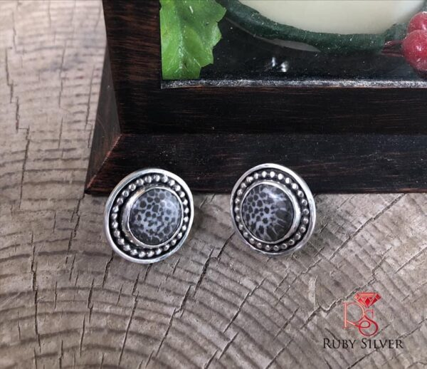 Made in Nevada Fossil Coral Stud earrings