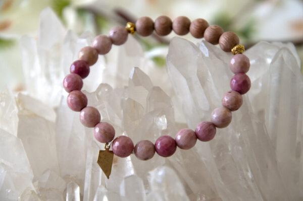 Made in Nevada Nevada Rhodonite Gemstone Bead Bracelet Aromatherapy Diffuser Jewelry