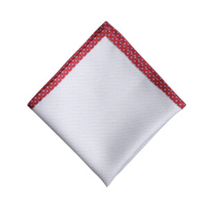 Made in Nevada White pocket square with light blue lines with red flower border