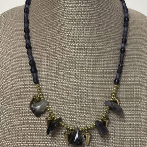 Made in Nevada Amethyst Chunk and Gold Spike Necklace