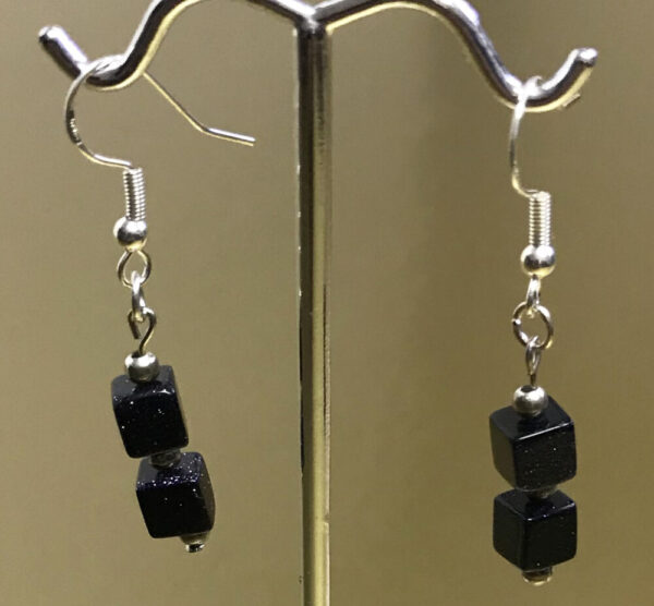Made in Nevada Blue Sunstone and Silver Earrings