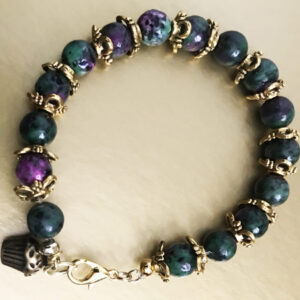 Made in Nevada Ruby Zoisite and Gold Cupcake Bracelet