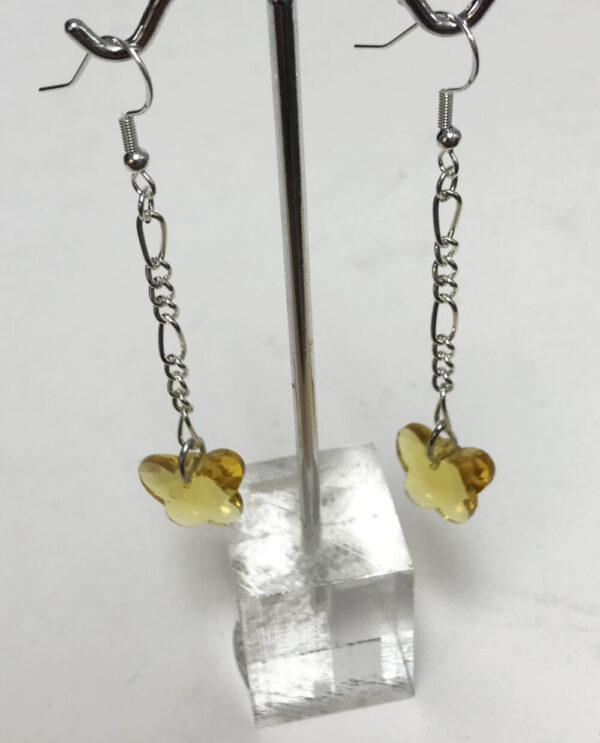 Made in Nevada Yellow Crystal Butterfly Earrings