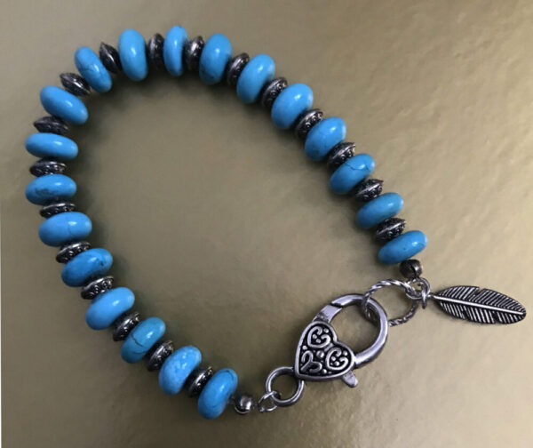 Made in Nevada Turquoise and Silver Feather Bracelet