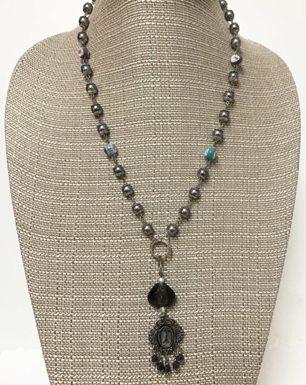 Made in Nevada Abalone, Blown Glass and Pearls Necklace