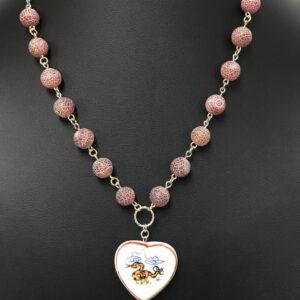 Made in Nevada Ceramic Rattlesnake Heart Necklace