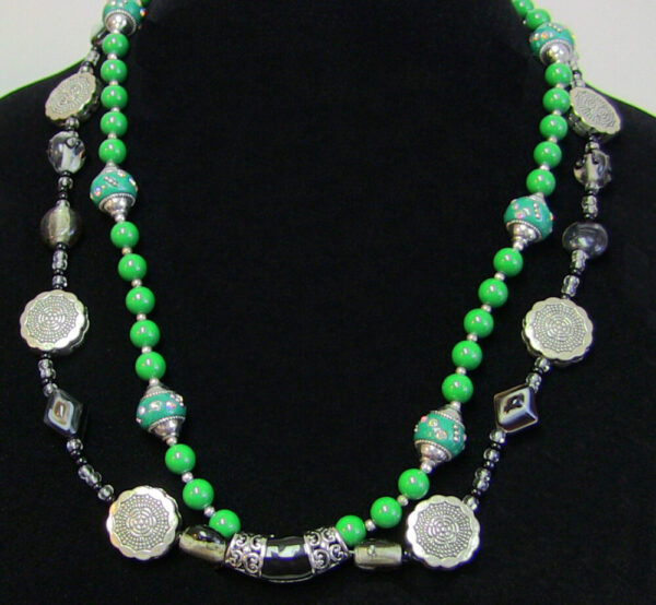 Made in Nevada Agate, Silver and Green Slide Necklace