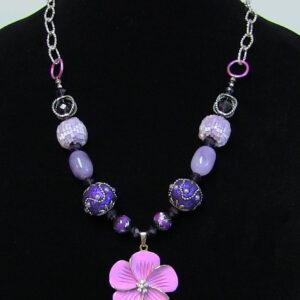 Made in Nevada Purple Posy and Rhinestone Beaded Necklace