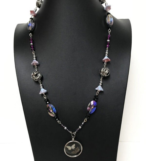 Made in Nevada Purple Crystal and Glitter Butterfly Necklace
