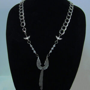 Made in Nevada Silver Angel Wing and Heart Necklace