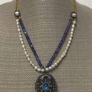 Made in Nevada Fresh Water Pearl and Beaded Locket Necklace