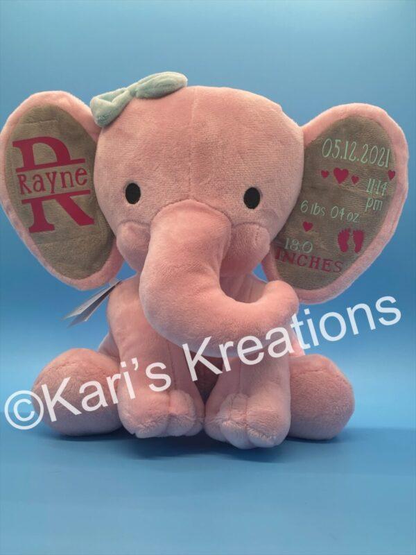 Made in Nevada Birth Stat keepsake plush elephant