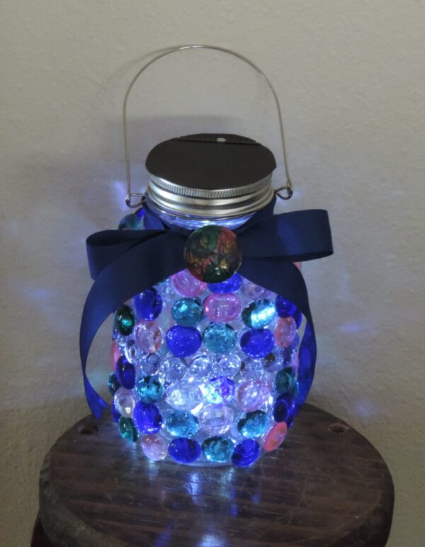 Made in Nevada Solar Lantern in Multiple Jewel Tones
