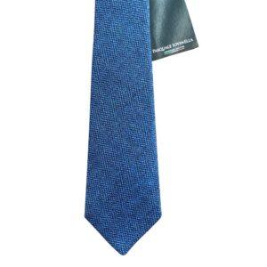 Made in Nevada Wool Blue/Black necktie with chevron design