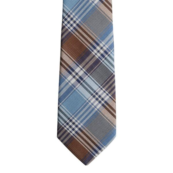 Made in Nevada Blue and Brown plaid necktie