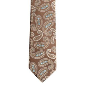Made in Nevada Brown necktie with white paisley