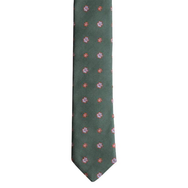 Made in Nevada Green with red and light blue flowers necktie