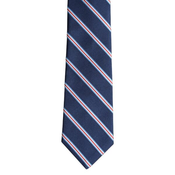 Made in Nevada Dark blue necktie with red and white stripes