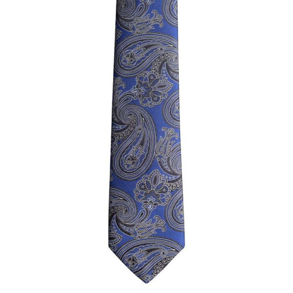 Made in Nevada Royal blue necktie with black paisley