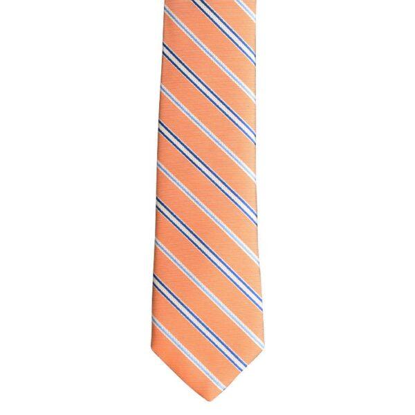 Made in Nevada Orange with blue/white stripes handmade necktie