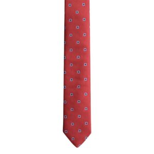 Made in Nevada Red necktie with dark/light blue squares