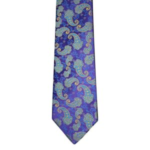 Made in Nevada Purple necktie with blue paisley