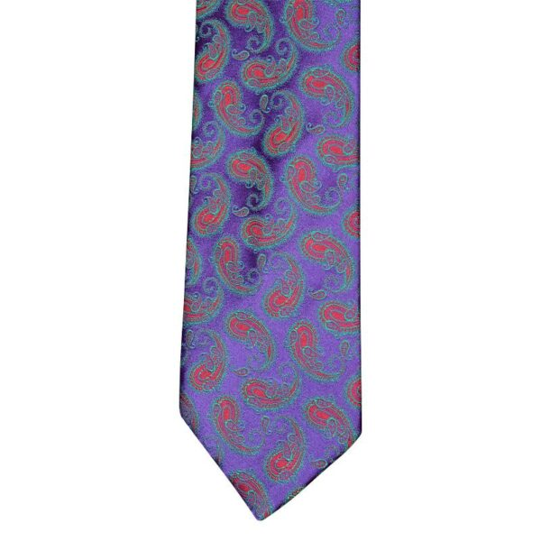 Made in Nevada Purple necktie with red paisley