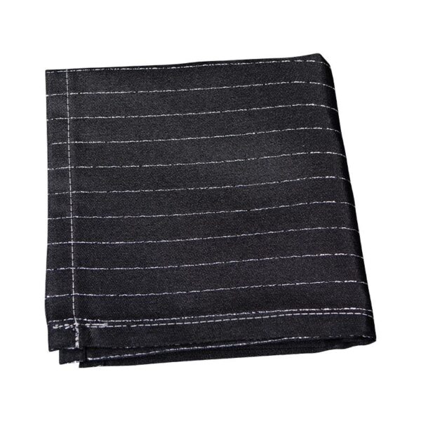 Made in Nevada Black pocket square with silver pin stripes