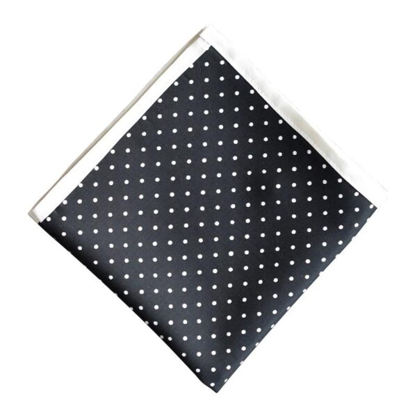 Made in Nevada Black pocket square with white polka dots