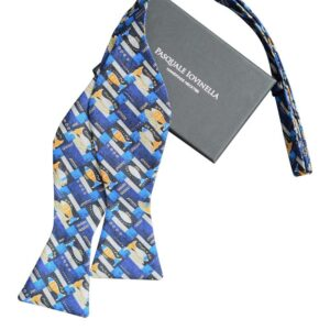 Made in Nevada Blue bowtie with yellow fish