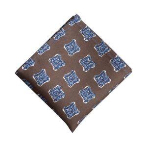 Made in Nevada Brown pocket square with blue squares