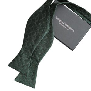 Made in Nevada Dark green bowtie with double circles