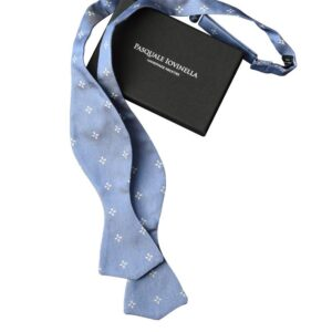 Made in Nevada Light blue bowtie with white flowers