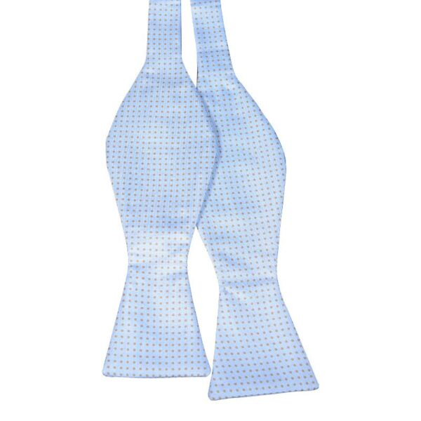 Made in Nevada Light blue bowtie with tan polka dots