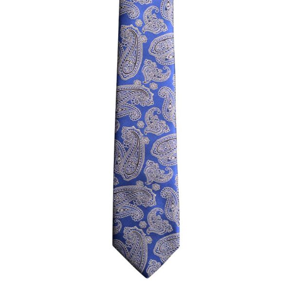 Made in Nevada Blue necktie with black paisley (narrow)