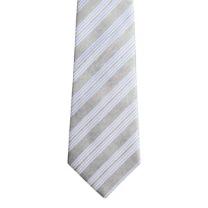 Made in Nevada Grey necktie with blue/white stripes (extra long)