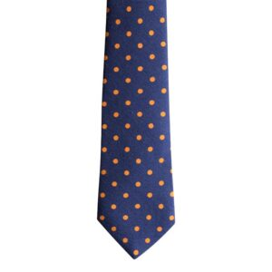 Made in Nevada Blue wool necktie with yellow polka dots