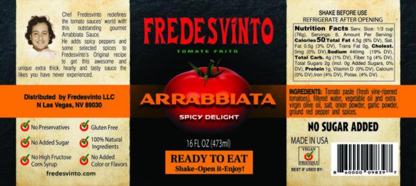 Made in Nevada Fredesvinto Gourmet Arrabbiata Sauce