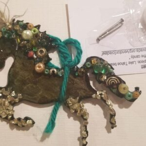 Made in Nevada 3D metal, multi-media horse art piece; 1 Lake Tahoe feather